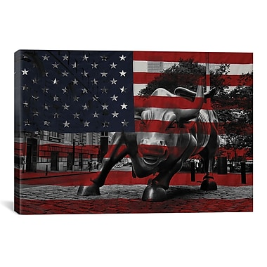 iCanvas Flags New York Street Charging Bull Graphic Art on Canvas; 18'' H x 26'' W x 0.75'' D
