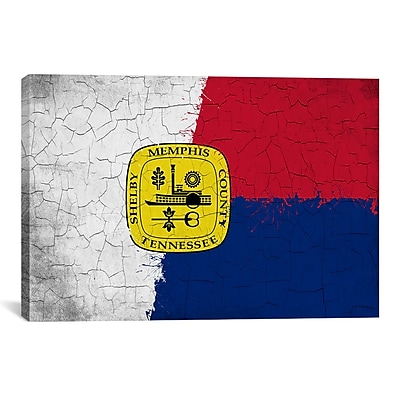 iCanvas Memphis, Tennessee Flag Grunge Painted Graphic Art on Canvas; 26'' H x 40'' W x 0.75'' D