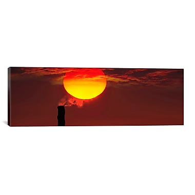 iCanvas Panoramic 'Smoke Stack in Sunset' Photographic Print on Canvas; 20'' H x 60'' W x 0.75'' D