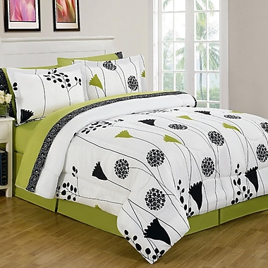 Luxury Home Spring Melody 8 Piece Reversible Bed in a Bag Set; King