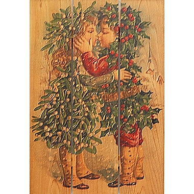 Gizaun Art 3 Piece Kissing Kids Painting Print on Cedar