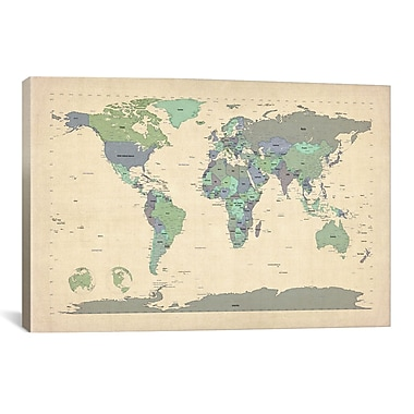 iCanvas 'Map of The World VI' by Michael Tompsett Graphic Art on Canvas; 26'' H x 40'' W x 1.5'' D