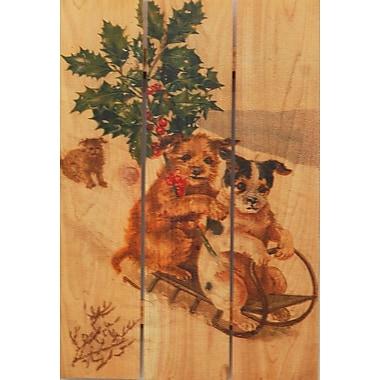 Gizaun Art 3 Piece Sleigh Dogs Painting Print on Cedar