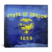 iCanvas Oregon Flag, Oregon Crater Lake w/ Grunge Graphic Art on Canvas; 18'' H x 18'' W x 0.75'' D
