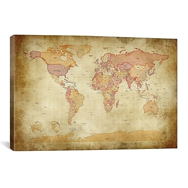 iCanvas 'Map of The World II' by Michael Tompsett Graphic Art on Canvas; 40'' H x 60'' W x 1.5'' D