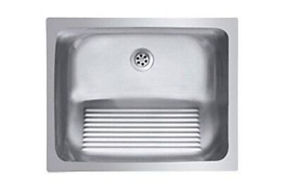 Ukinox Single Basin Stainless Steel Laundry Sink w/ washboard