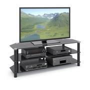 CorLiving - Support pour téléviseur et composants Trinidad TRA-704-T en verre noir pour les téléviseurs mesurant jusqu'à 60 po
