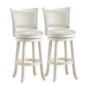 "CorLiving DWG-119-B Woodgrove 43"" White Wash Wood Barstool with Leatherette Seat, Set of 2"