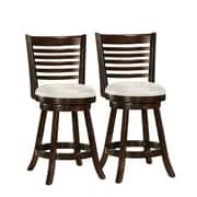 CorLiving - Tabouret de bar en bois cappuccino Woodgrove DWG-914-B de 38 po avec siège en similicuir, ensemble de 2