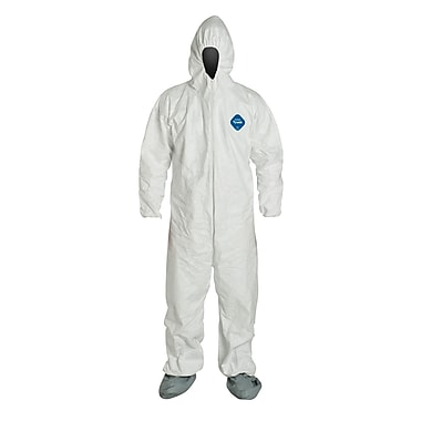 DUPONT Fabric Disposable Coverall with Hood and Boots, Medium