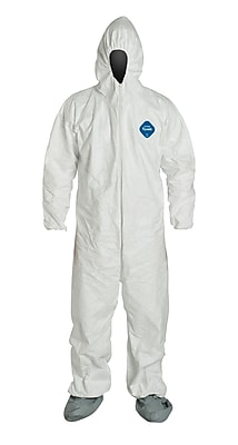 DuPont® Tyvek® Coveralls, L Size, Front Zipper, White, Elastic Wrist & Ankles, 25/Carton