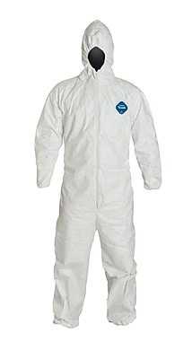 DuPont® Tyvek® Coverall, XL Size, Attached Hood, Front Zipper, White, Serged Seams, 25/CT