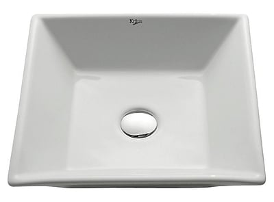 Kraus Ceramic Square Vessel Bathroom Sink; Oil Rubbed Bronze