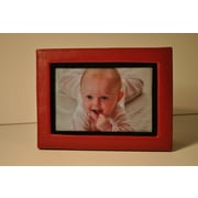 Budd Leather Lizard Print Picture Frame; Red