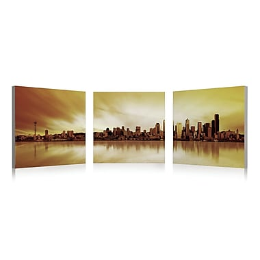 Artistic Bliss Seattle Skyline 3 Piece Framed Photographic Print Set; 24'' H x 24'' W x 1'' D