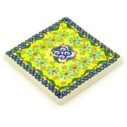 Polmedia Polish Pottery 4.37'' x 4.37'' Stoneware Tile in Green