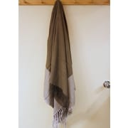 Lintex Kristalle Fringed Cotton Throw; Brown