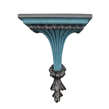 Hickory Manor House Fluted Leaf Bracket; Aged Blue Gold