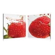 Artistic Bliss Strawberry Splash 2 Piece Framed Photographic Print Set; 24'' H x 24'' W x 1'' D