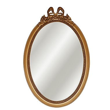 Hickory Manor House Oval w/ Bow Mirror; Antique Gold