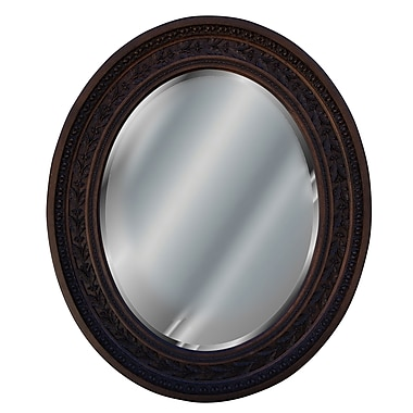 Hickory Manor House Antique Leaf Oval Mirror; Walnut