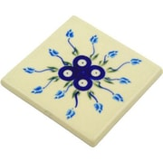 Polmedia Polish Pottery 4.37'' x 4.37'' Stoneware Tile in Blue / White