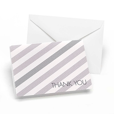 Hortense B. Hewitt, Lagoon & Slate Simple Stripe Thank You Cards, Lavender & Slate