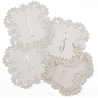 Hortense B. Hewitt Shimmer Laser Cut Table Number Cards, 1 - 10