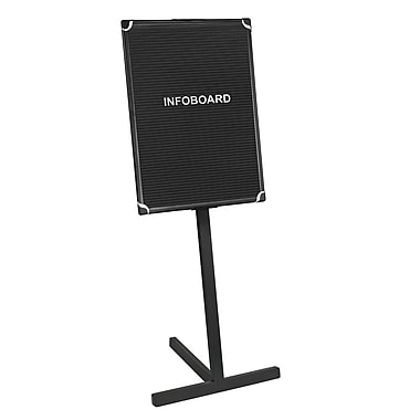MasterVision™ Grooved Vinyl Black Aluminum Letter Board Sign with Floor Stand, 18