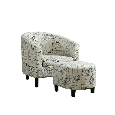 Monarch Specialties Inc. I 8058 Fabric Accent Chair and Ottoman, White