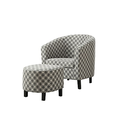 Monarch Specialties Inc. I 8060 Fabric Accent Chair and Ottoman, Gray
