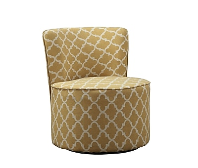 Monarch Specialties Inc. I 8130 Fabric Accent Chair with Swivel Base, Gold