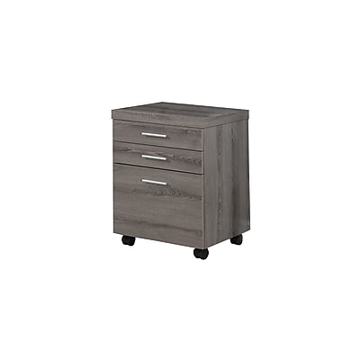 Monarch Specialties Inc. I 7049 3-Drawer File Cabinet, Dark Taupe