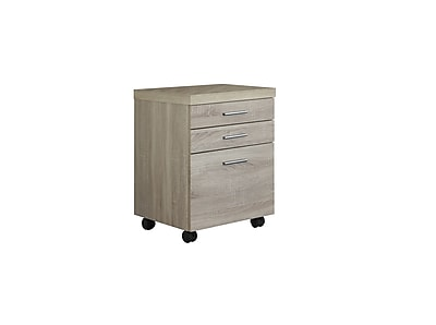 Monarch Specialties Inc. I 7050 3-Drawer File Cabinet, Natural