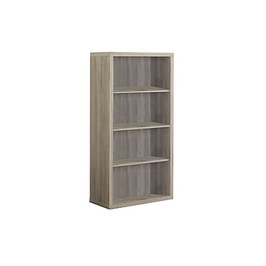 Monarch Specialties 12'' 3-Shelf Bookcase, Natural (I 7061)
