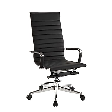 Pantera Pantera Leather Computer and Desk Office Chair, Fixed Arms, Black (6041-80B)