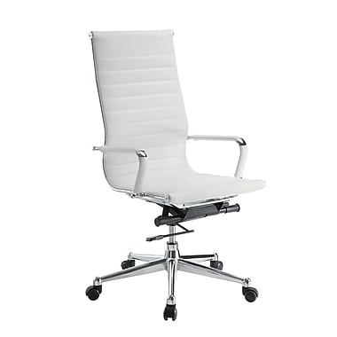 Pantera Pantera Leather Computer and Desk Office Chair, Fixed Arms, White (6041-80W)