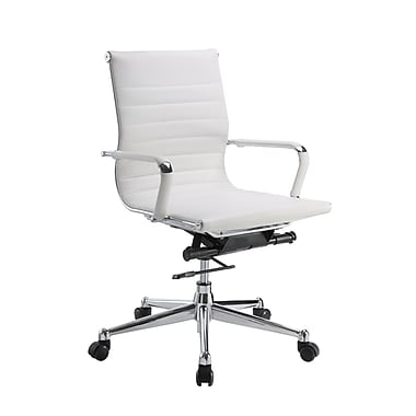 Pantera Pantera Leather Computer and Desk Office Chair, Fixed Arms, White (6041-81W)