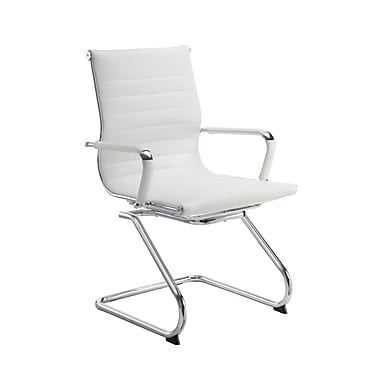 DMI Office Furniture Pantera 604182W Synthetic Leather Guest Chair, White