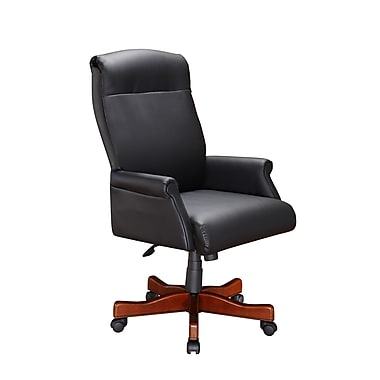 DMI Office Furniture 69401105 Leather Roll Arm Executive Desk Chair, Cherry