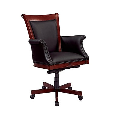 Del Mar Del Mar Leather Executive Office Chair, Fixed Arms, Cherry (7302-835)
