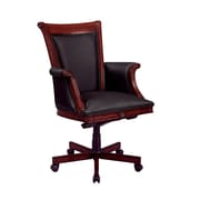 Del Mar Del Mar Leather Executive Office Chair, Fixed Arms, Cherry (7302-836)