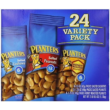 Planters® Variety Pack Peanuts & Cashews, Salted Peanuts, Honey Roasted Peanuts, Salted Cashews, Nuts (664570)