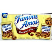 Famous Amos Chocolate Chip Cookies, 2 oz. Bags, 30 Bags/Carton