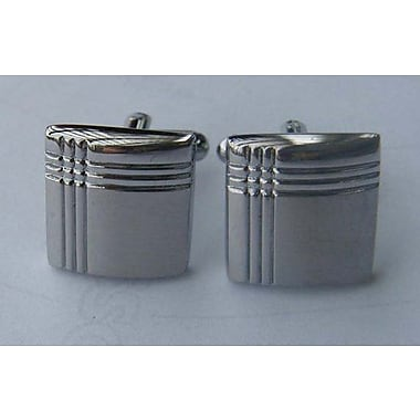 Best Desu Crisscross Silver Rectangle Cufflinks