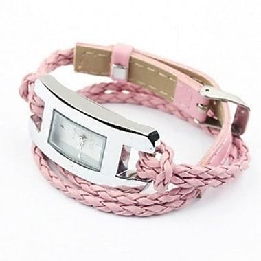 Best Desu – Montre-bracelet en cuir fabriquée à la main, rose