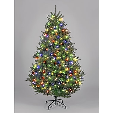 Hometime Snowtime 6.6' Green Pre-Lit Boston Spruce Artificial Christmas Tree w/ 700 Color LEDs