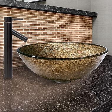 Vigo Textured Copper Glass Circular Vessel Bathroom Sink