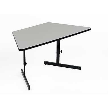 Correll, Inc. Height Adjustable Training Table w/ Modesty Panel; Black Granite