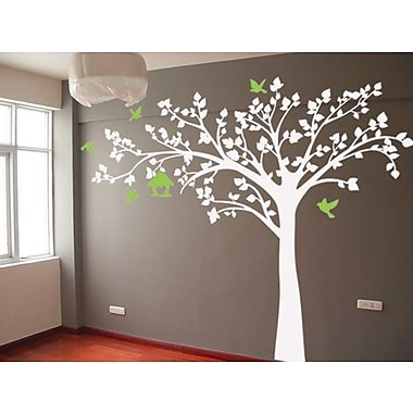 Pop Decors Big Tree w/ Love Birds Wall Decal; Brown, Green, and Yellow